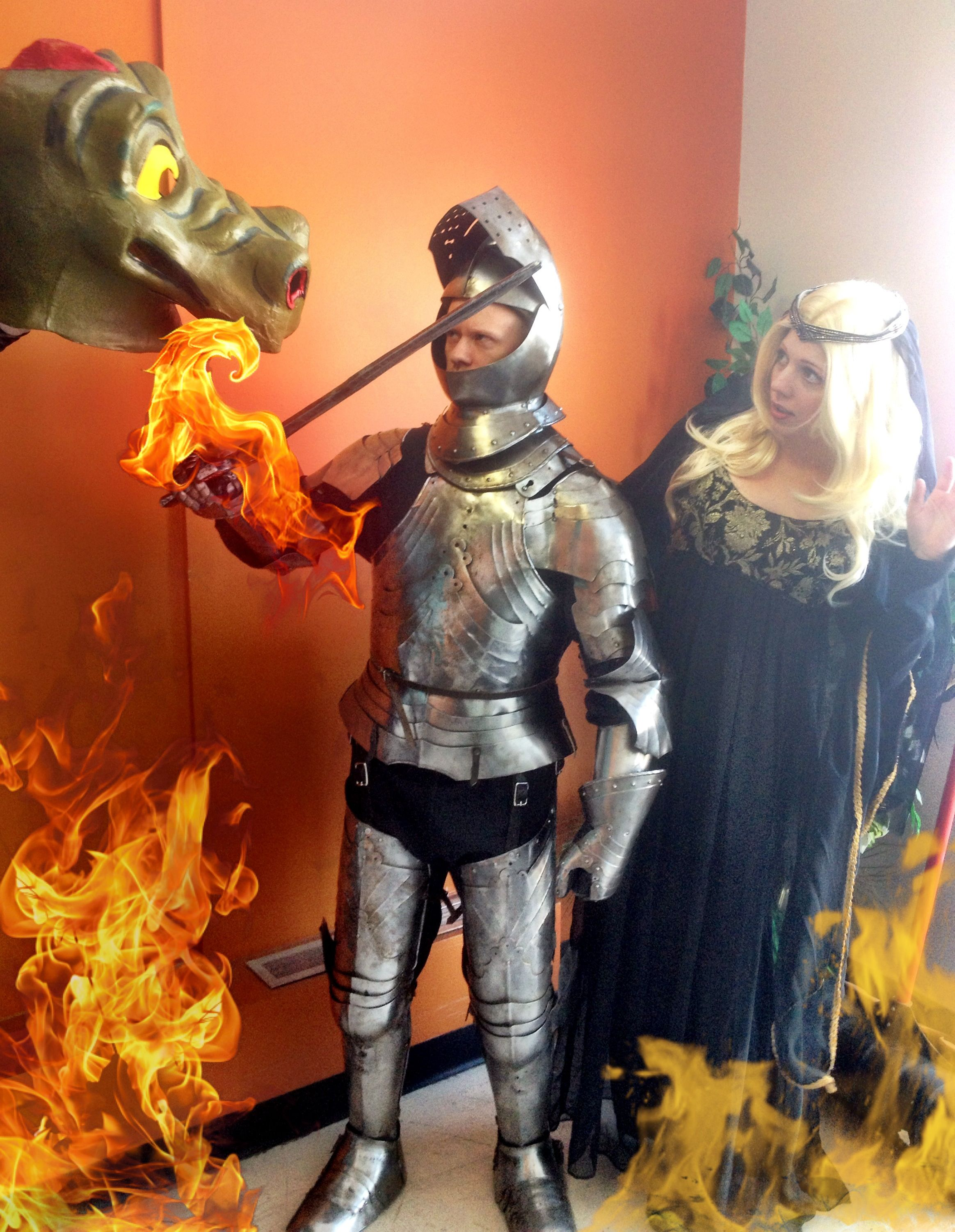 knight in shining armour rescues the damsel in distress