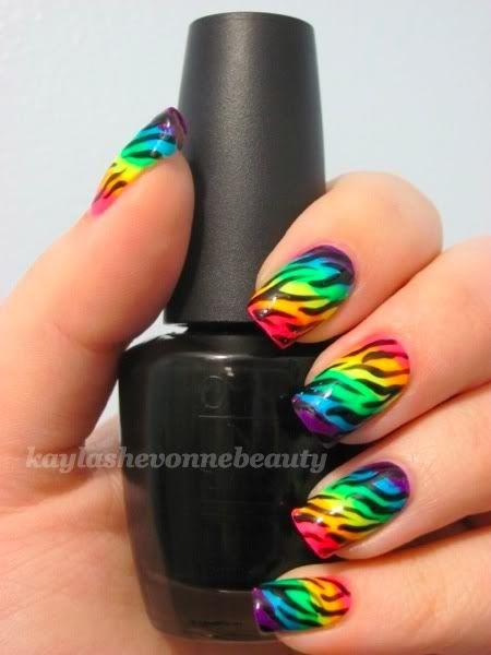 Obnoxiously Bright Rainbow Zebra Print Nails Rainbow Nail Art