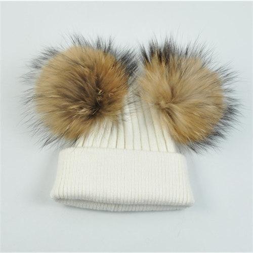90b3fda5ac7 Kids Double Real Fur Pom Pom Hat Winter Girls Boys Knitted Beanie Children  Ball Cute Caps Fashion Warm Big Raccoon Fur Baby Wool