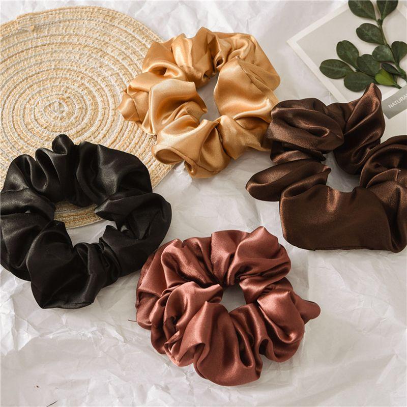 Soft Silky Satin Solid Hair Scrunchies Elastic Hair Bands Ponytail Hair Tie Rope