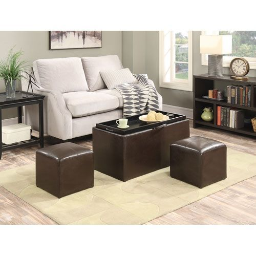 Designs4Comfort Espresso Faux Leather Sheridan Storage Bench with Ottomans