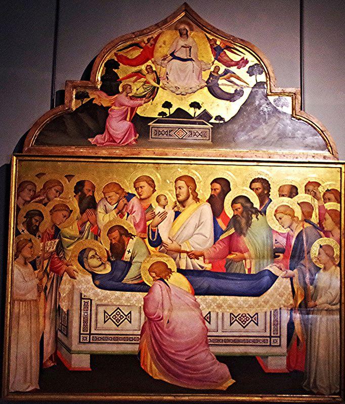Niccolo di Pietro Gerini, La mort de la Vierge   vers 1370-1375,  Tempera sur bois,  244 x 201 cm,  Galerie nationale,  Palazzo della Pilotta, Parme