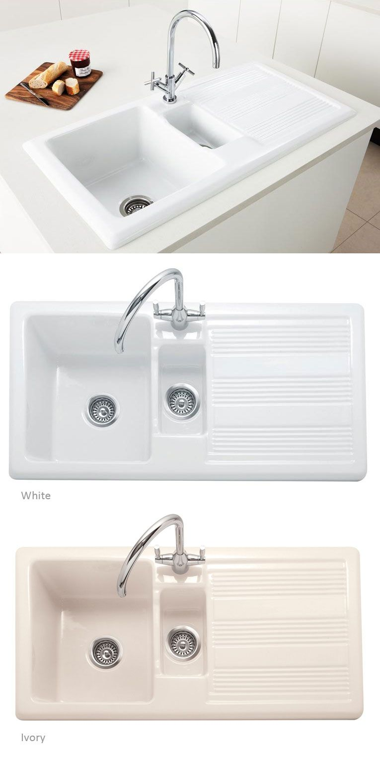 White Ceramic Bowl Kitchen Sink With A 5 Year Caple Guarantee And Available Fast Uk Delivery