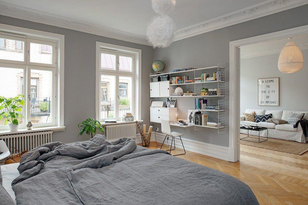 Gris y blanco siempre un acierto deco gray bedroom - Muebles grises paredes color ...