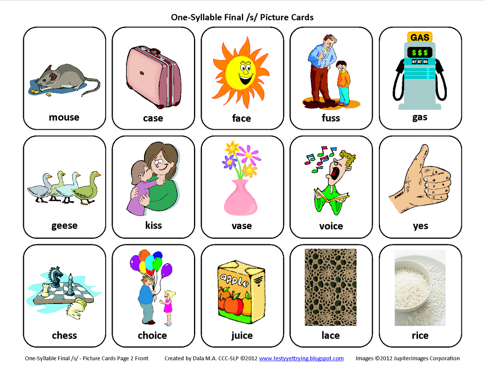 Description These articulation picture card sets are designed to – S Articulation Worksheets
