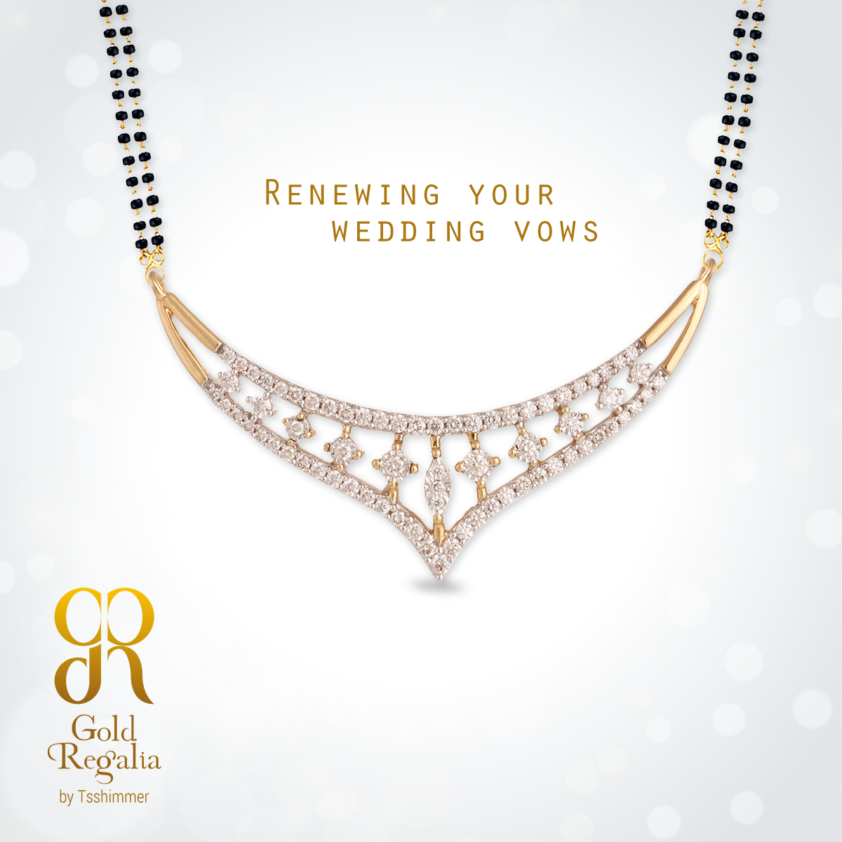 Renewing your wedding vows with mangalsutra pendants by gold