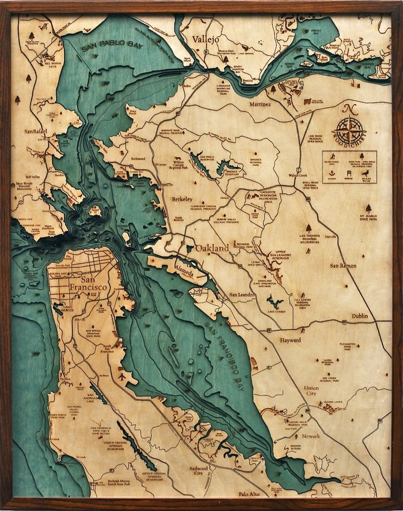 Bathymetric Map San Francisco Bay Area California Baltic birch