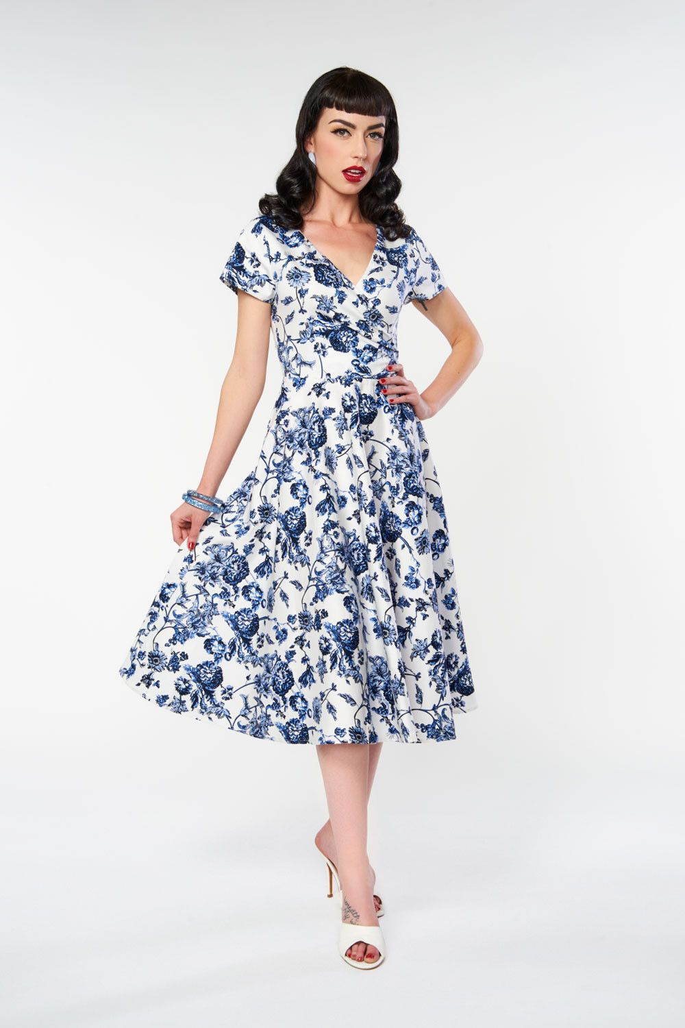 f9014d7aa56c Maria Toile Floral Print Swing Dress by Collectif | Pinup Girl Clothing