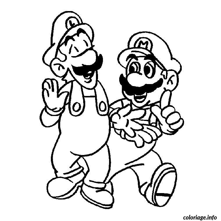 luigi et mario coloriage 653 in 2020 Mario coloring