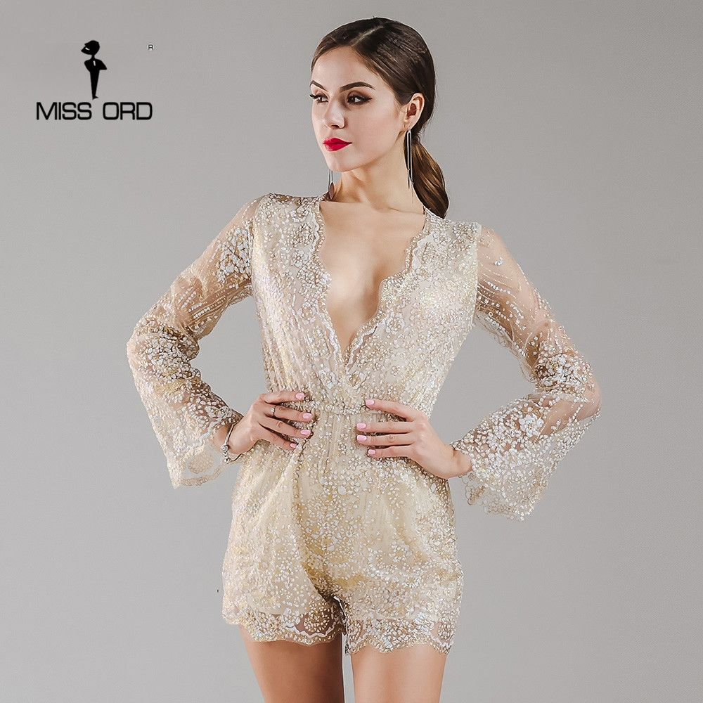 Missord 2017 sexy deep-v glitter flare lange mouwen playsuit ft4932