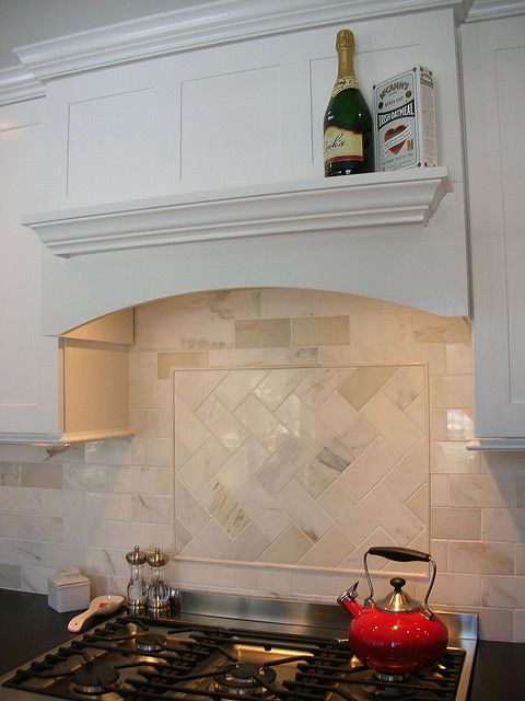 Subway Tile With Herringbone Accent Over Stove And I