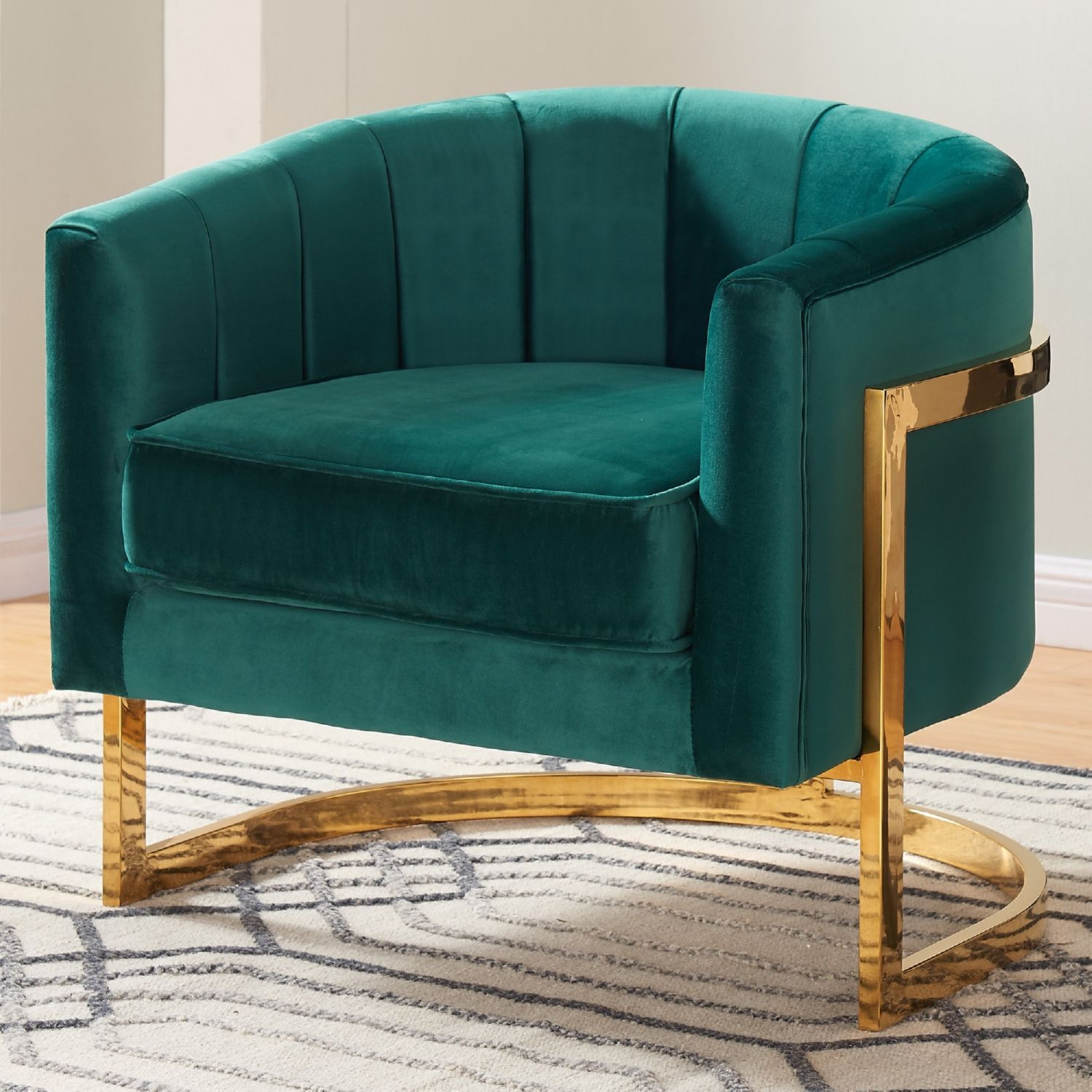 Meridian Furniture 515Green Carter Green Velvet Accent Chair On Gold  Stainless Base Round Back