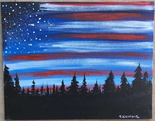 How To Paint American Flag Sky is part of Acrylic painting inspiration, American flag painting, Step by step painting, Cloud painting, Silhouette canvas, Kids canvas art - How To Paint American Flag Sky Learn how to do this very simple yet stunning American Flag Sky with acrylic paint on canvas  You'll learn how to do a forest skyline silhouette backed by a twilight or dawn sky and a dry brushed US flag illusion! This painting tutorial is     Read moreHow To Paint American Flag Sky