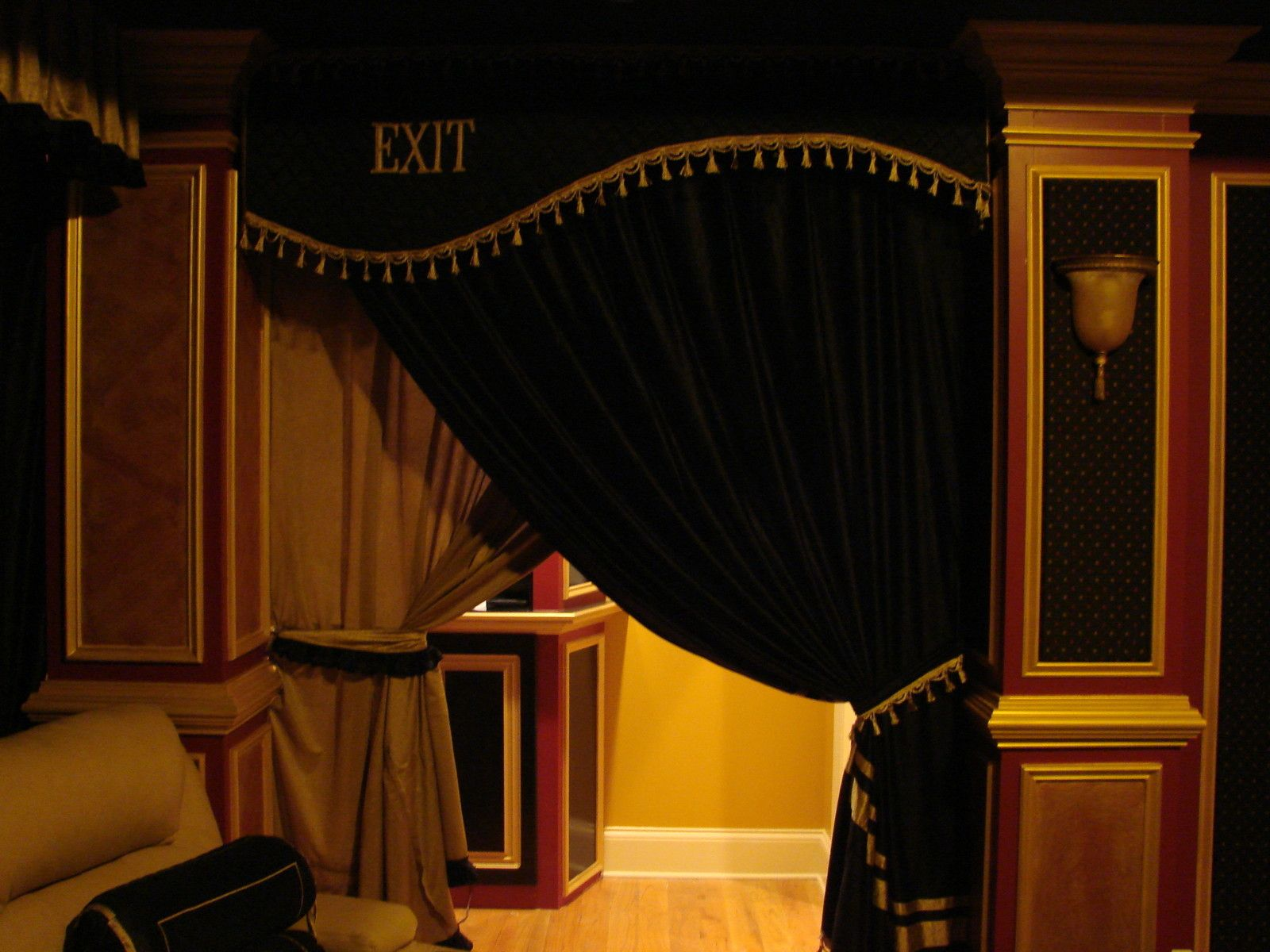 Home Theater Window Curtains - Home theater door curtain hand crafted cornice with your own logo velvet or silk