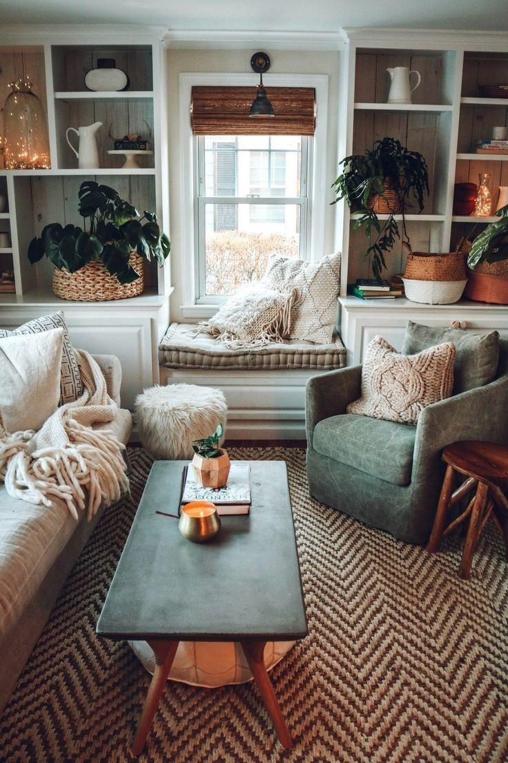 17 hermosas ideas de diseño de salón rústico bohemio 17