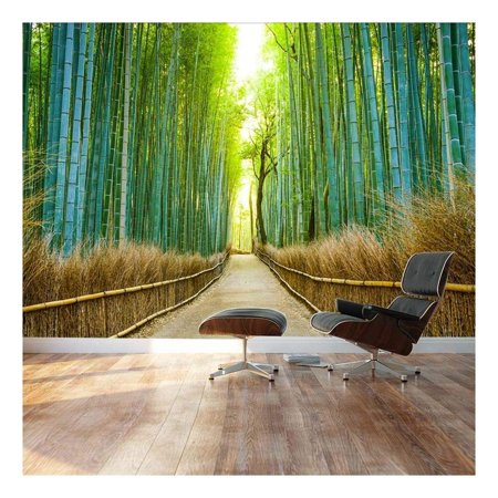 Bamboo forest with a path headed into a sunny clearing 100x144 Wall Mural