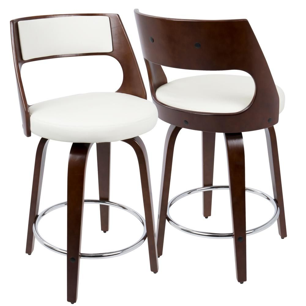 Lumisource Cecina Cherry Wood And White Swivel Seat Counter Stool