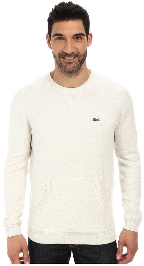 Lacoste L!Ve Cotton Crew Neck Sweater w/ Kangaroo Pockets