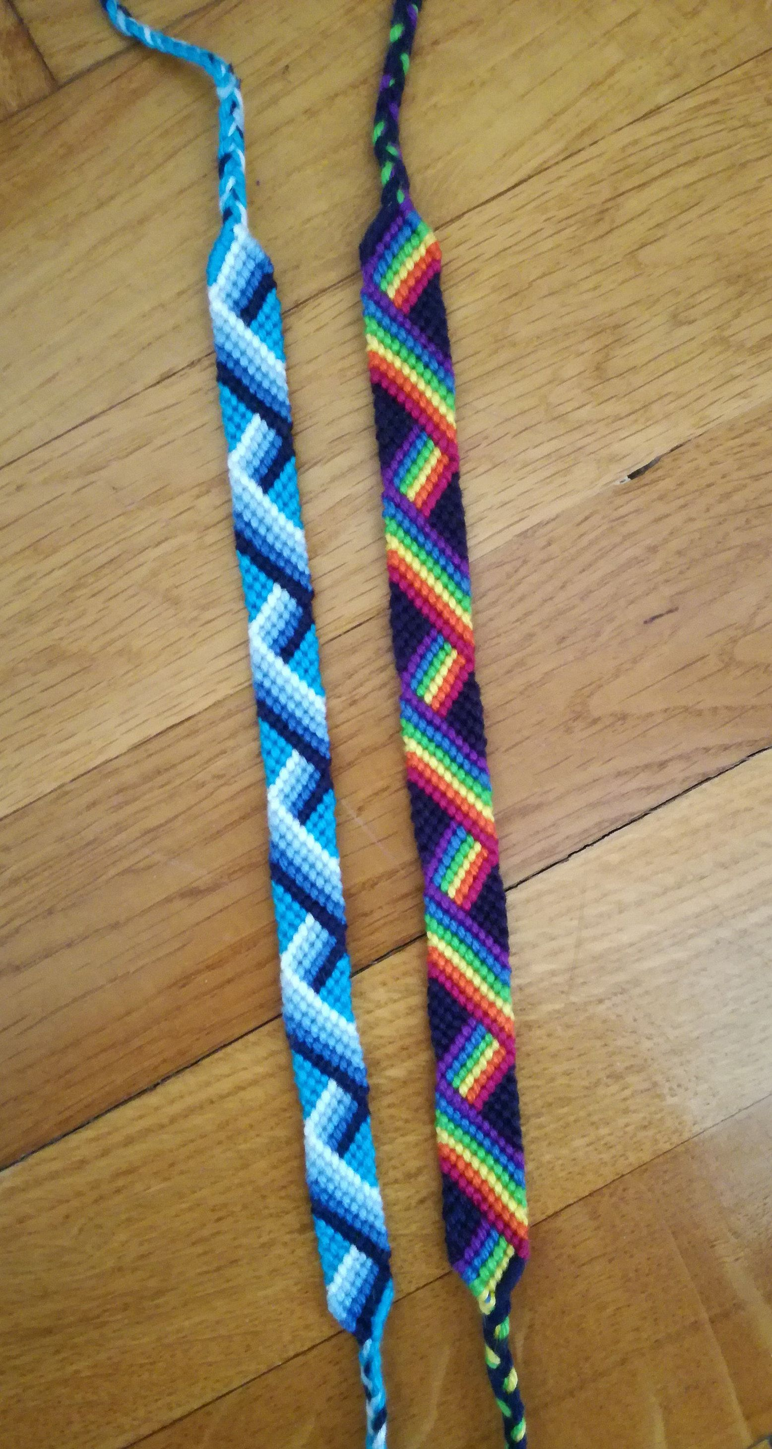 Zigzag friendship bracelet Rainbow knotted bracelet Custom string bracelet Wrist band Handwoven bracelet Woven jewelry Knot wrist cuff Boho