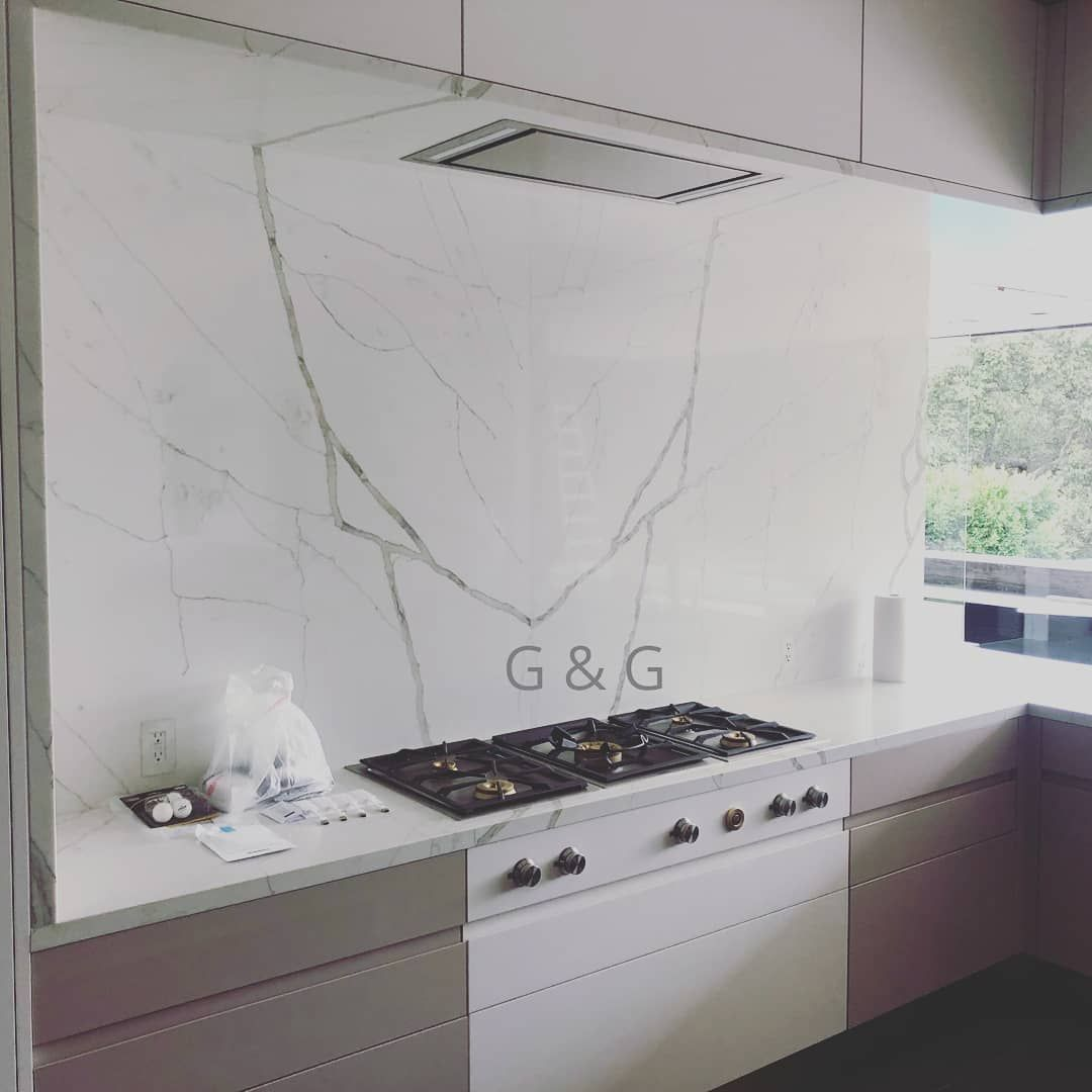 White And Gray Marble Backsplash Kitchen Project Marble