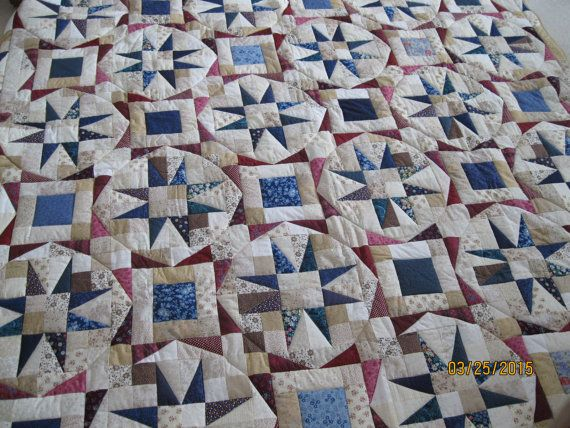 Tan and Blue Star Quilt