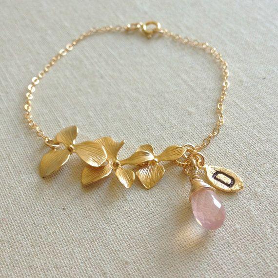 Rose Quartz Bracelet Personalized Bracelet by anatoliantaledesign, $38.00
