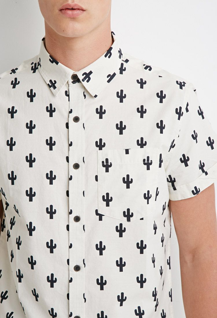 Cactus Print Shirt - Features - Sale Under €10 - 2000095696 - Forever 21 EU  English 333892c39159b