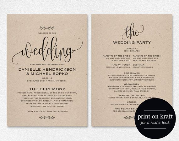 Wedding Program Printable Wedding Program Template Rustic Wedding Ceremony Printable Template Fan Pdf Instant Download Bpb202 3 Wedding Invitations Printable Templates Wedding Invitation Templates Rustic Free Printable Wedding Invitation