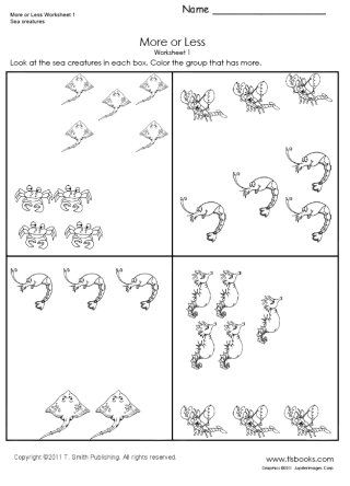 More Or Less Worksheet 1 More And Less Worksheets Preschool Math