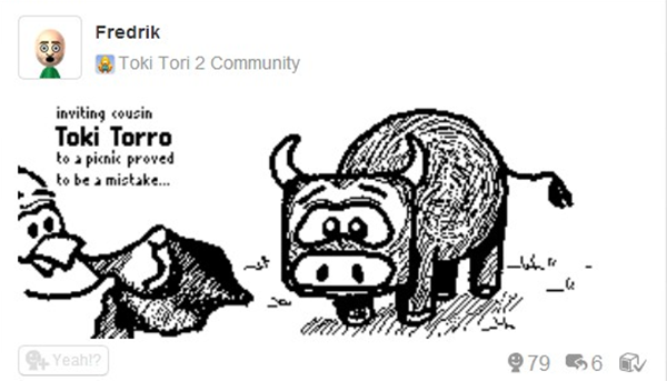 """Two Tribes is inviting players to the second round of their drawing contest for Toki Tori 2. Each round is themed, and players are challenged to use their Wii U Gamepad to draw their interpretation of the theme. Last round's theme was """"Draw an imaginary friend for Toki Tori."""" Fredrick.W won top prizes with his drawing entitled Toki Torro."""