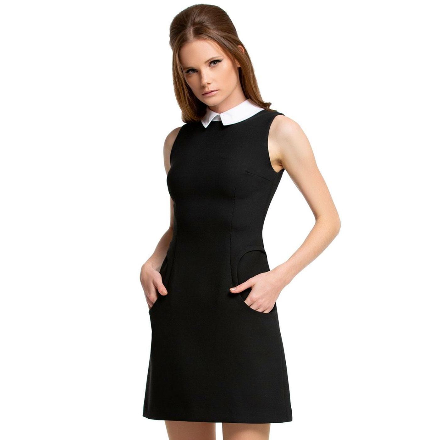 Marmalade 60s Mod Collared Circle Pocket Mini Dress Black Mini Black Dress Black Mod Dress Mod Dress 60s [ 1400 x 1400 Pixel ]