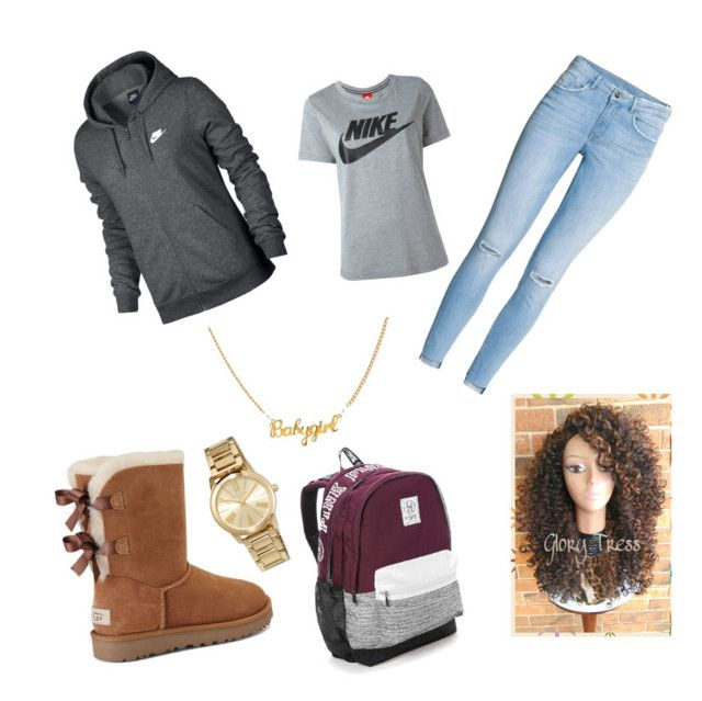 """""""School year 2017-18"""" by happyneisha on Polyvore featuring UGG, NIKE, Victoria's Secret and MICHAEL Michael Kors"""