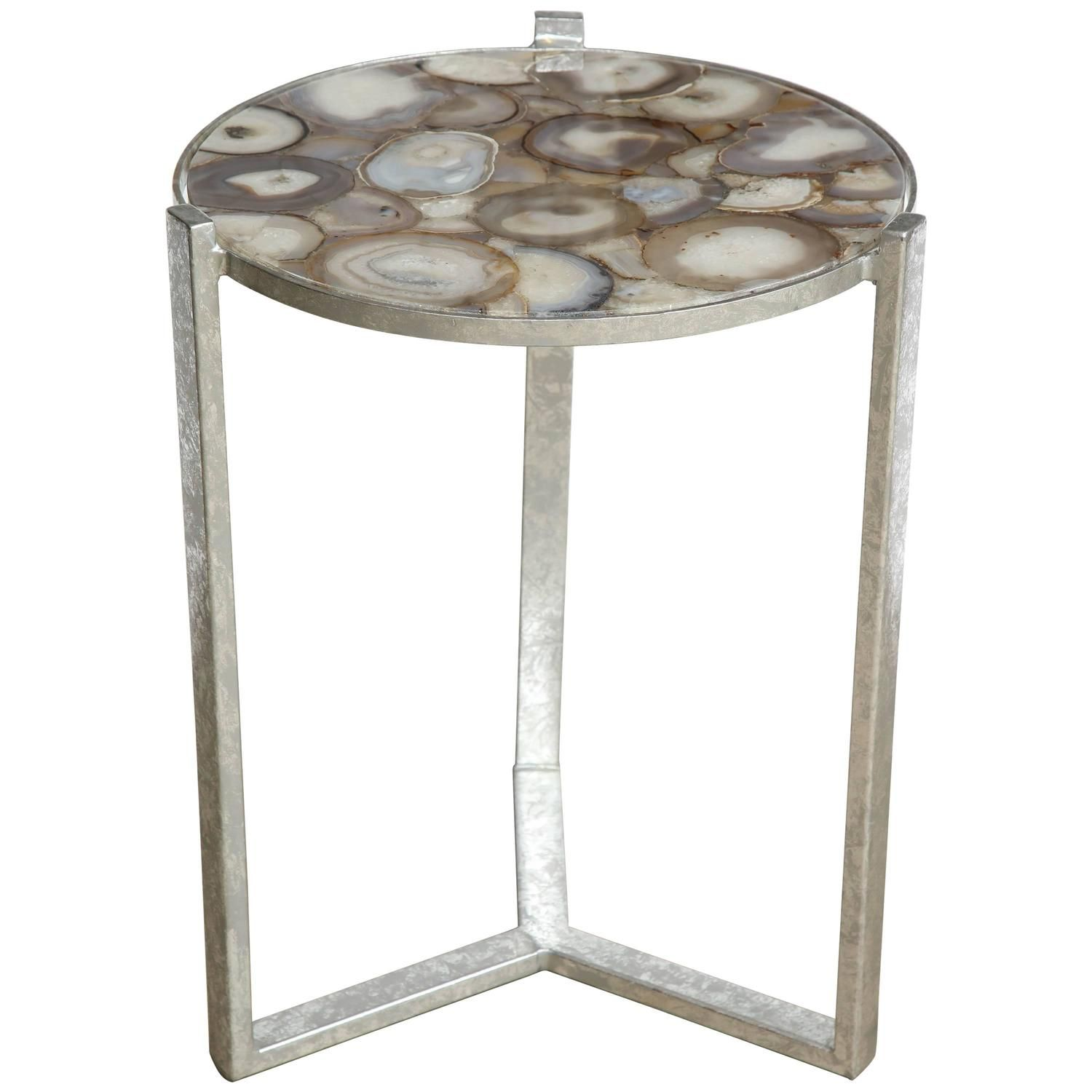 Geode Agate Slice Top Side Table e of Two For Sale at 1stdibs