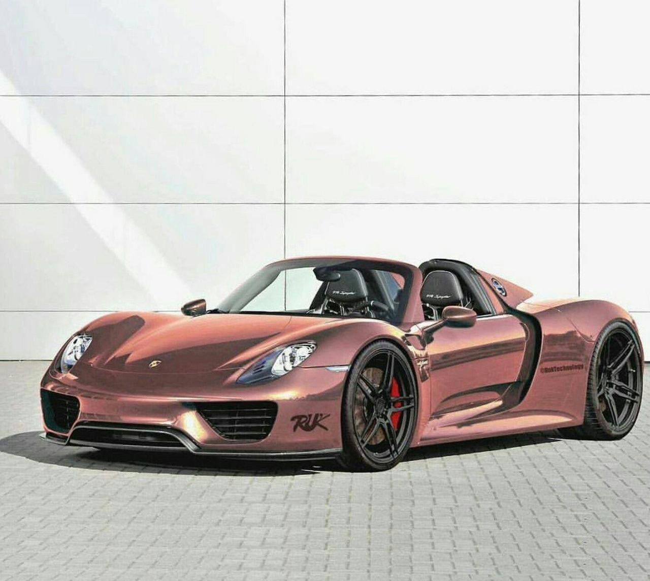 Top Porsche Cars: Rose Gold Porsche 918 Spyder