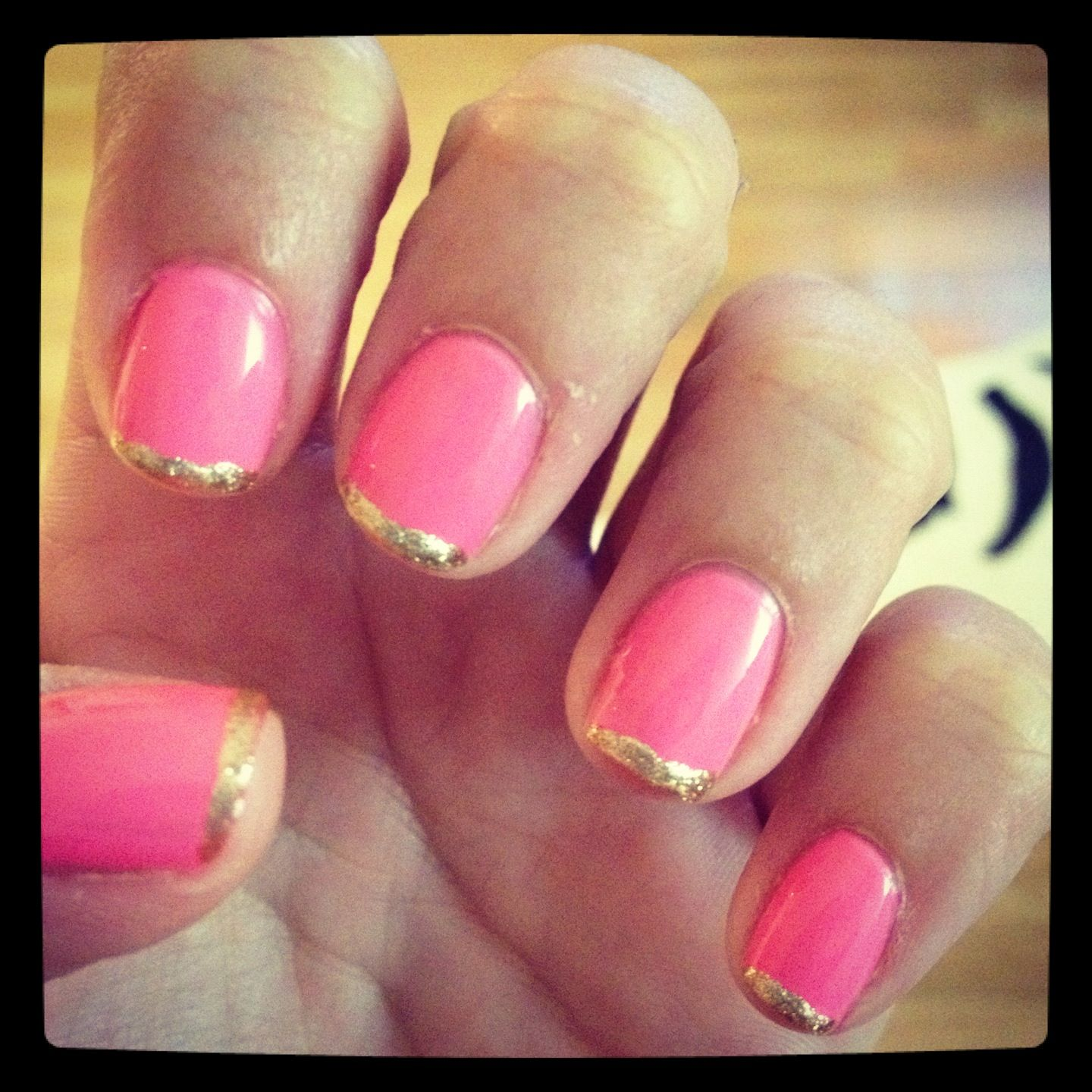 Hot Pink & Gold French Manicure | Manicures | Pinterest | Manicure ...