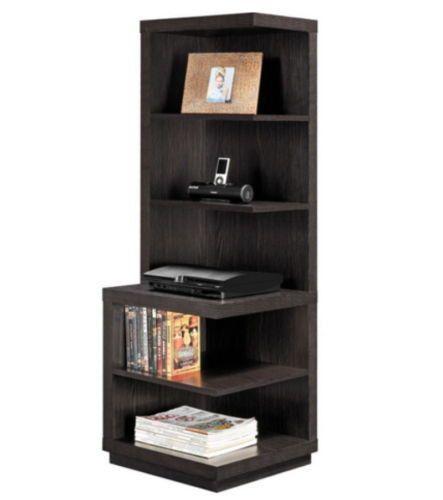 Modern Corner Bookcase With Five Shelves Home Office Furniture Espresso Finish
