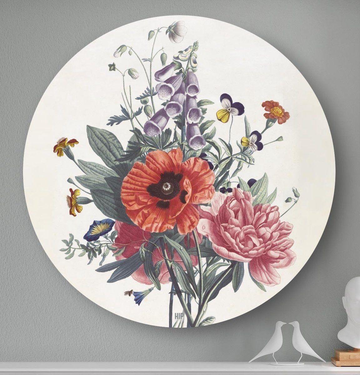 Hip Orgnl Schilderij Bos Bijzondere Bloemen 40cm Wandcirkel In 2021 Schilderij Wanddecoraties Bloemen