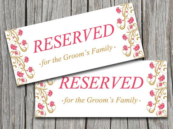 Wedding Reserved Sign Template Vintage Flourishing Flowers Rose - microsoft word sign template
