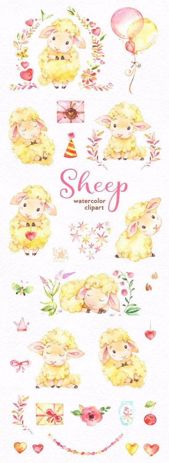 Sheep. Watercolor clip art, characters, cute, heart, floral, animal, planners, romantic, baby shower, stickers, kids, ballons, lamb - #animal #characters #floral #heart #sheep #watercolor - #Genel