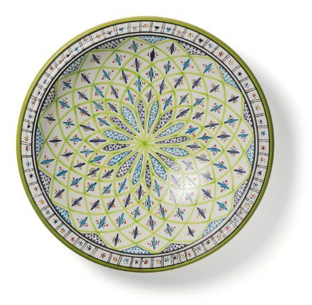 Amazon.com | Decorative Tunisian Ceramic Round Bowl Serving Platter Blue Green Platters  sc 1 st  Pinterest & Amazon.com | Decorative Tunisian Ceramic Round Bowl Serving Platter ...