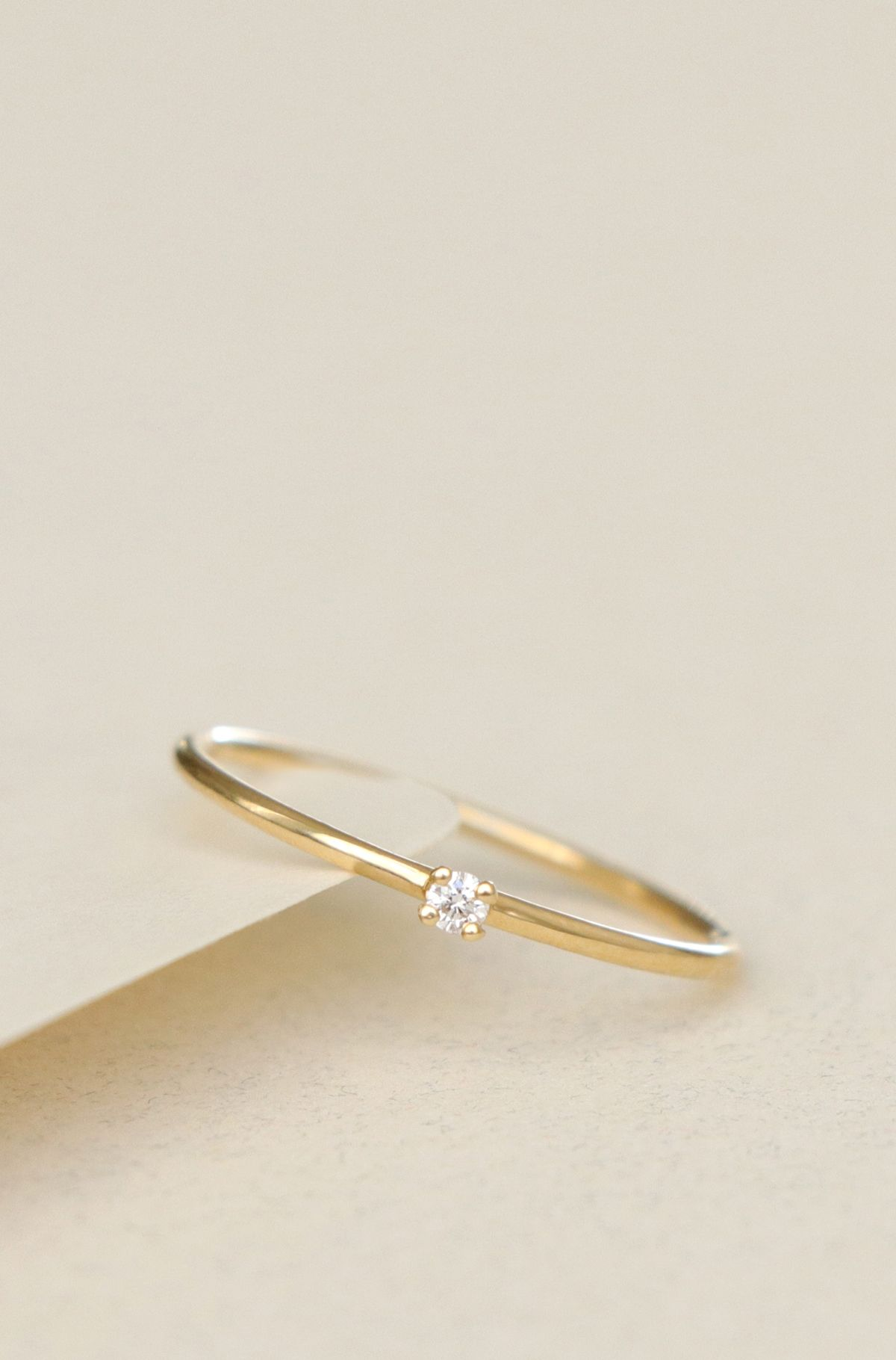 Ideal VOW: Vrai & Oro Wedding Promise Ring. Simple, tiny diamond  AA95