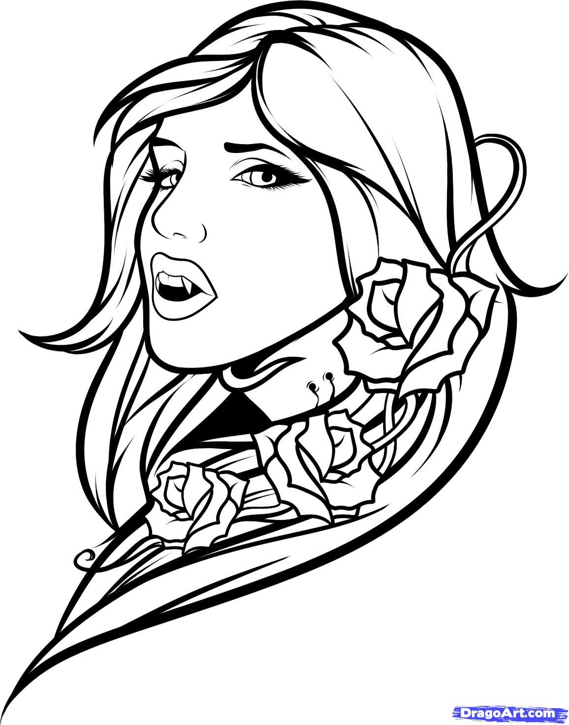 Vampire Girl Vm Colouring Pages Tattoo Coloring Book Drawings