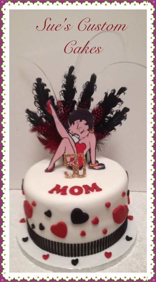 Betty Boop Cake Feathers Red Black With Images Betty Boop