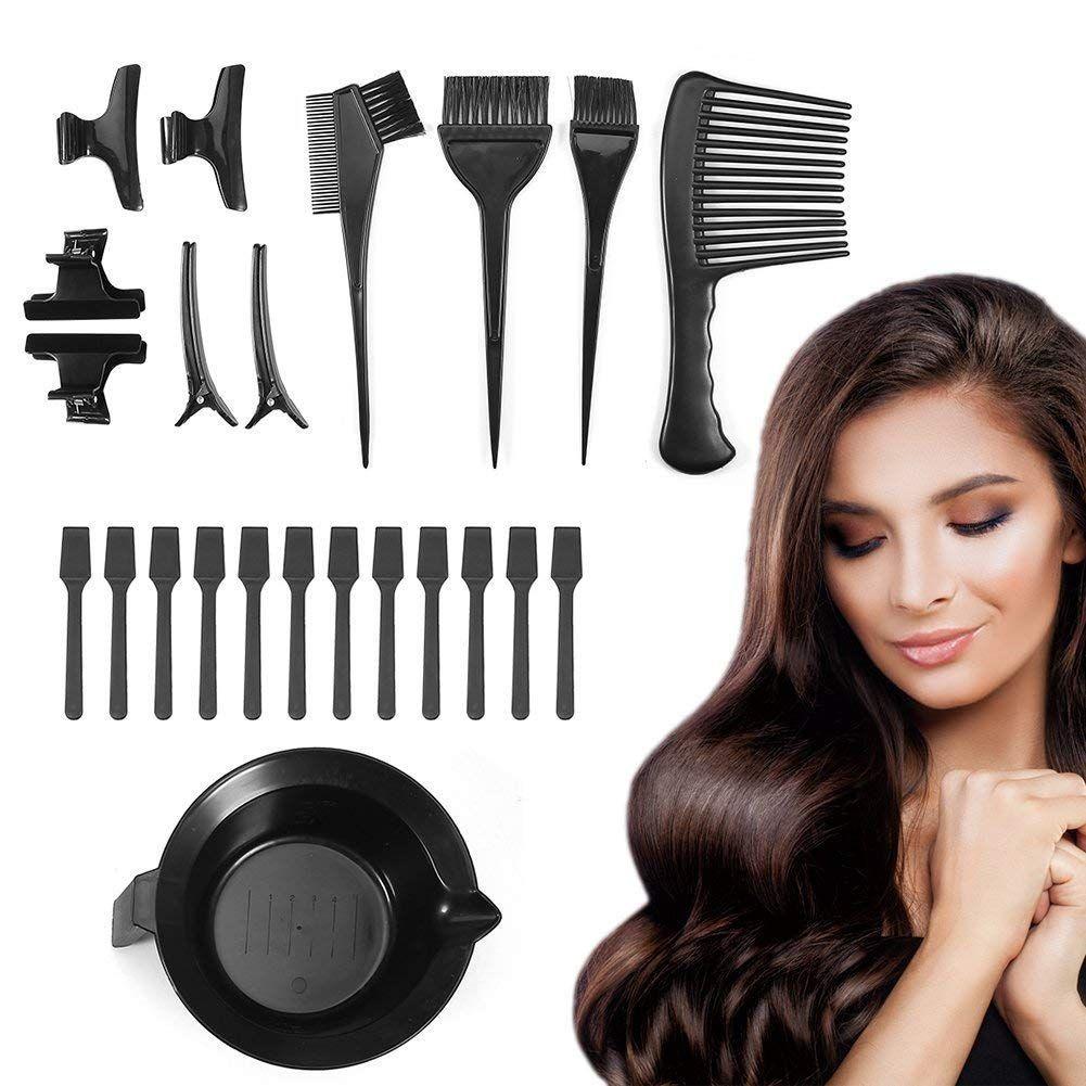 Professional Hair Color Mixing Kit 23 Pcs Hair Dye Brush Comb Bowl Whisk Set Hair Dyeing Tint Clips Hairpins Hair Hi Hair Dye Brush Hair Highlights Dyed Hair