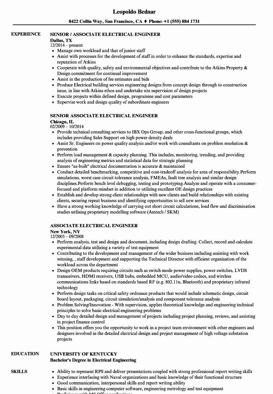 25 electrical engineer resume sample in 2020 engineering