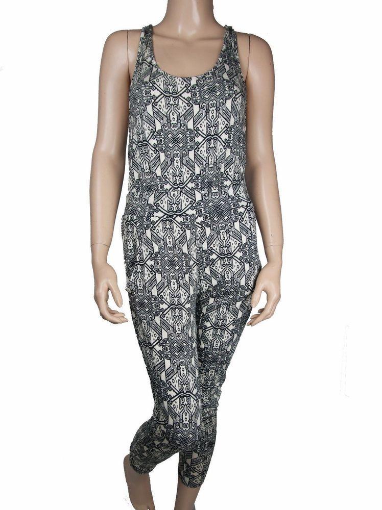 41a1f4c0968 New Robin K Romper Jumpsuit Bohemian Boho Black White Stretch Womens Small   RobinK  Jumpsuit