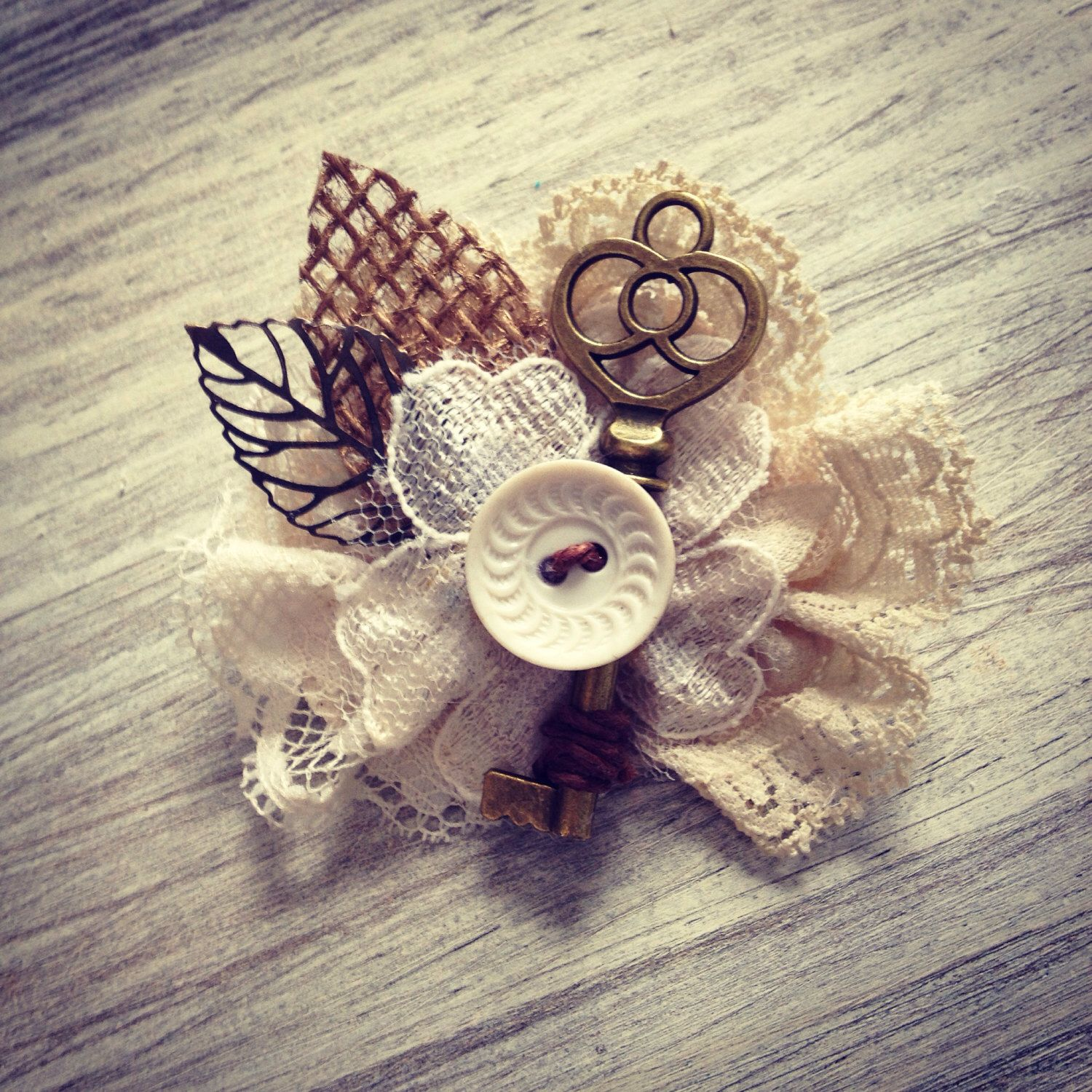 Vintage Key Boutonniere  Sunflower Wedding- Key, Burlap, Lace and Vintage Button Wedding Boutonnieres -Custom- by dustyLuck on Etsy https://www.etsy.com/listing/216160096/vintage-key-boutonniere-sunflower