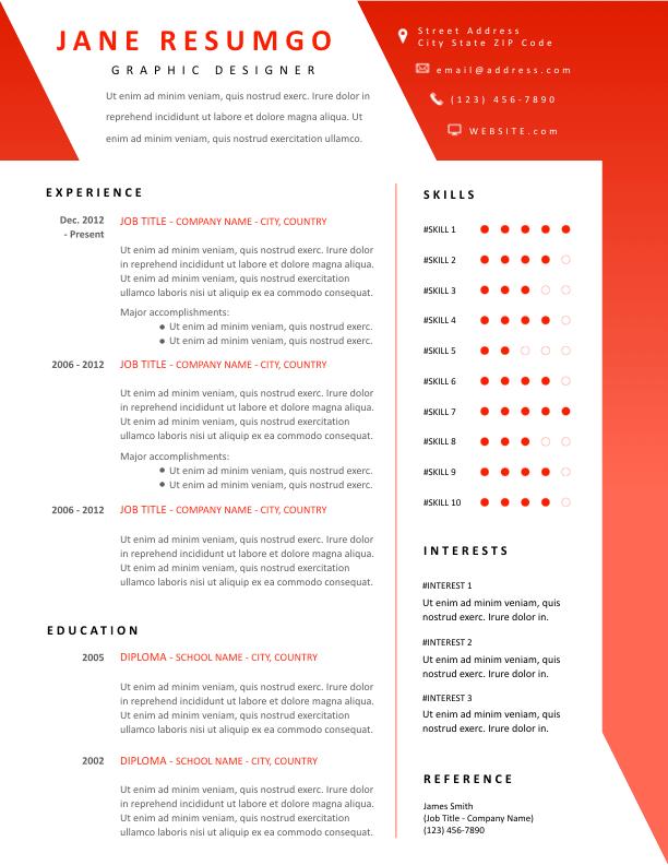 Sara Red Modern Resume Template Resumgo Com Modern Resume Template Resume Template Modern Resume