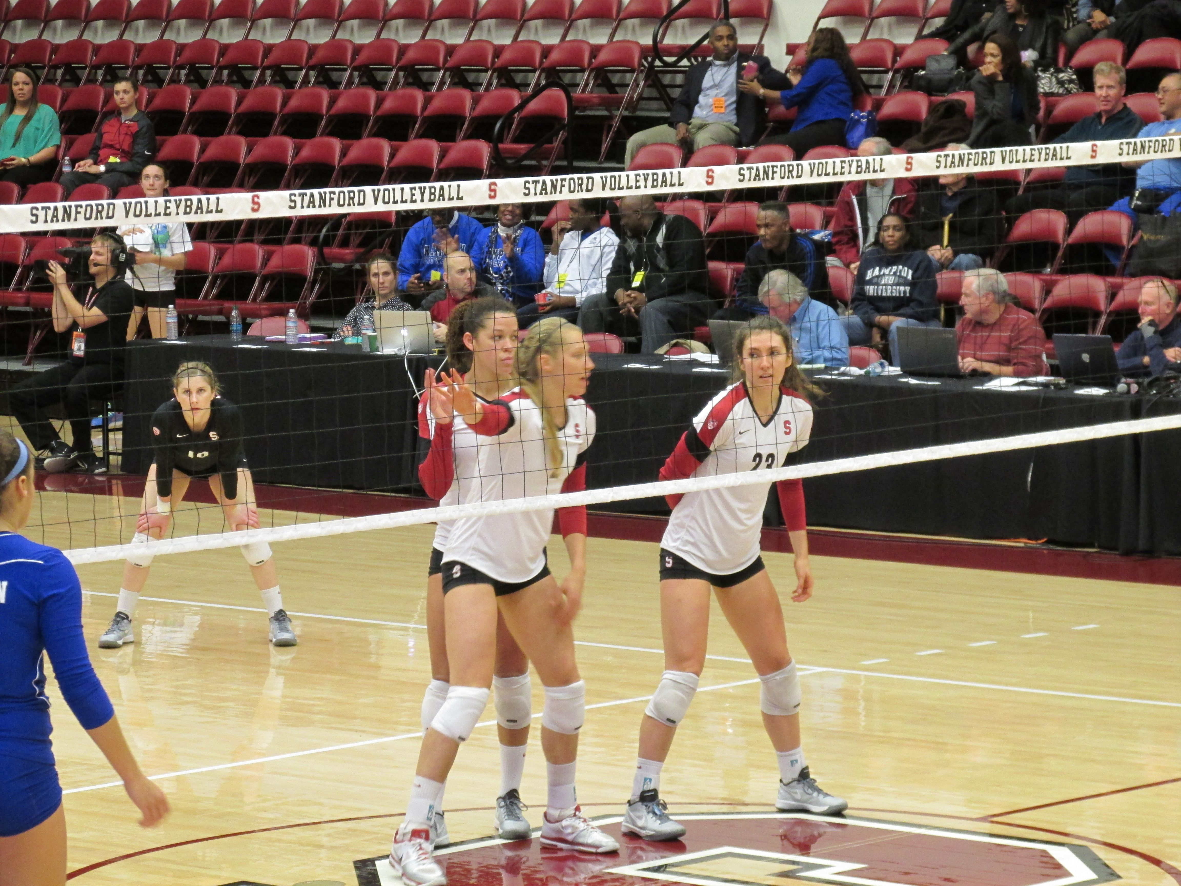 Carly Wopat And Jordan Burgess Of Stanford Make Defensive Calls On Serve Receive Against Hampton In A Round 1 Vi Stanford Volleyball Volleyball Ncaa Tournament