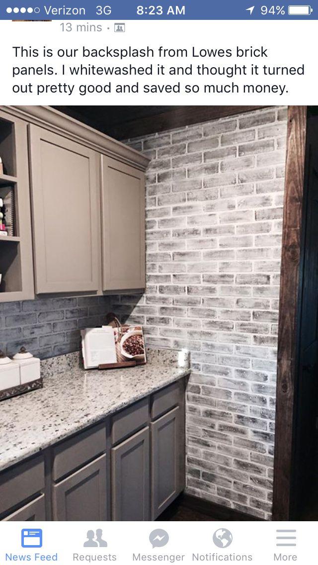 Whitewash Brick Backsplash Kitchen Brick Wall Paneling Faux Brick